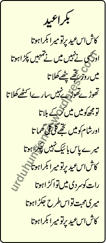 Eid Mubarak Ezha Funny Poetry Happy Urdu